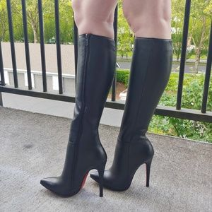 Di Marni Black Leather, Leather Lined Heeled Boots
